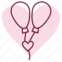 ballon, day, heart, romance, romantic, wedding icon