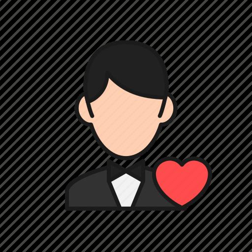 boy, groom, handsome, love, man, marriage, wedding icon