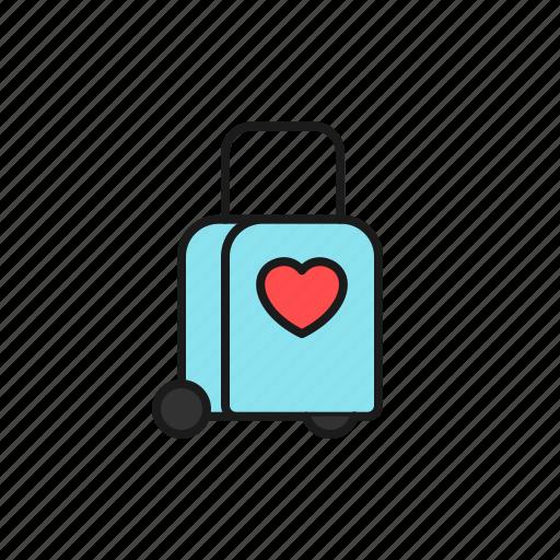 bag, holiday, honeymoon, love, marriage, trolley, wedding icon