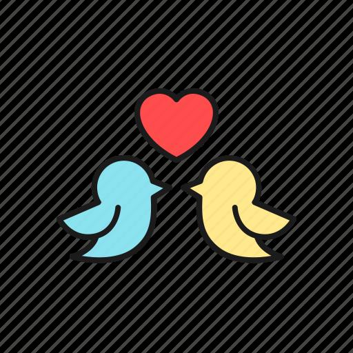 bird, couple, cute, dove, love, marriage, wedding icon