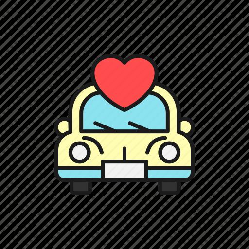 car, convoy, couple, love, marriage, travel, wedding icon
