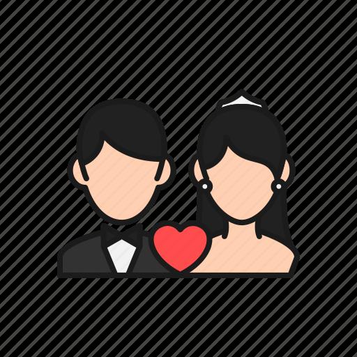 bride, couple, groom, love, marriage, married, wedding icon