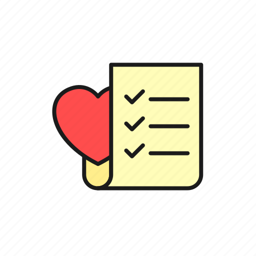check, list, love, marriage, paper, wedding icon