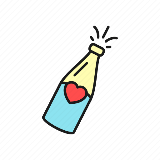 bottle, champagne, drink, love, party, wedding, wine icon
