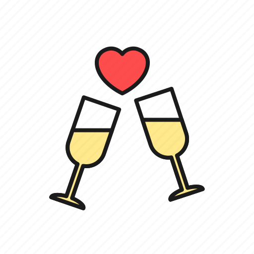 champagne, drink, glass, love, party, wedding, wine icon