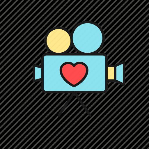 documentation, film, love, marriage, movie, video, wedding icon