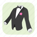 cartoon, clothing, dress, formal, men, suit, wedding icon