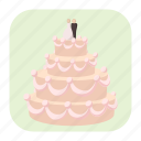 bride, cake, cartoon, flowers, groom, stylish, wedding icon