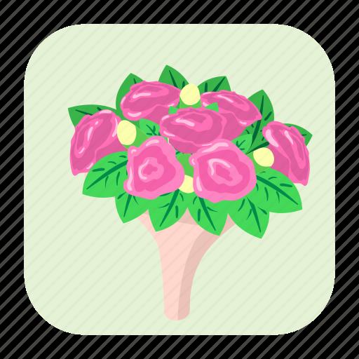 bouquet, bunch, cartoon, flower, gift, love, petal icon