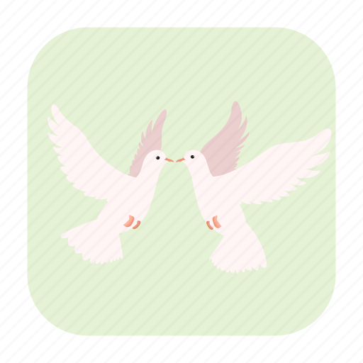 bird, cartoon, couple, dove, love, pigeon, two icon