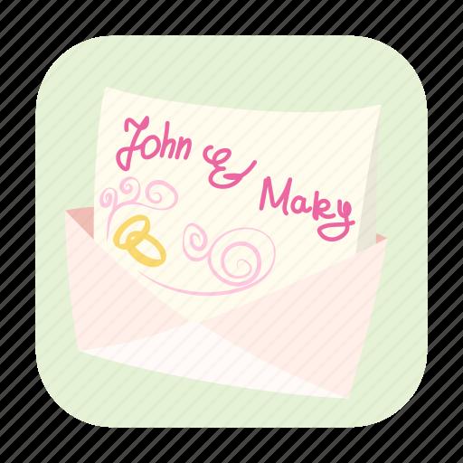 banner, bride, card, cartoon, groom, invitation, wedding icon