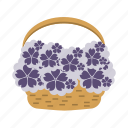 basket, flowers, holiday, wedding icon