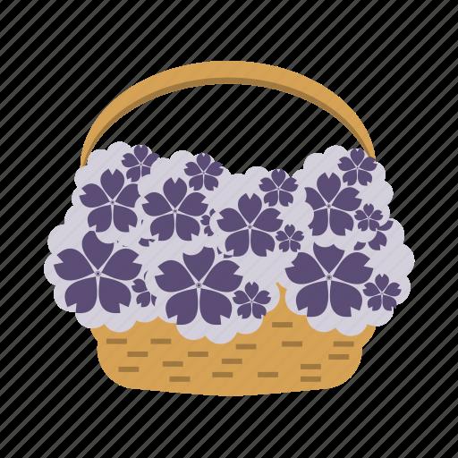 basket, flowers, holiday, wedding icon