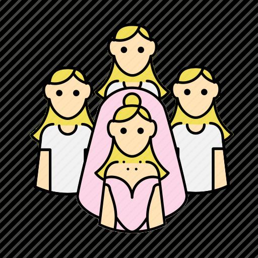 bride, bridesmaid, engagement, wedding icon