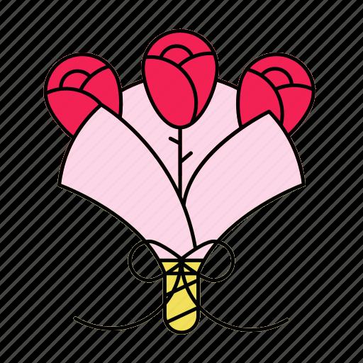 bouquet, flower, rose, valentine icon