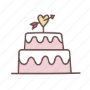 cake, celebration, decoration, gift, love, party, wedding icon