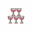 celebration, champagne, glass, party, stack, wedding, wine icon