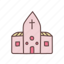 building, chapel, christian, church, religious, venue, wedding icon
