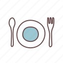 cutlery, fork, plate, spoon, tableware, utensil, utensils icon