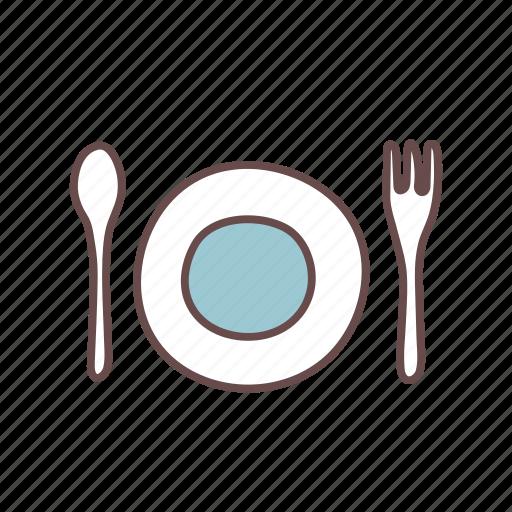 cutlery, fork, plate, spoon, tableware, utensil, utensils icon