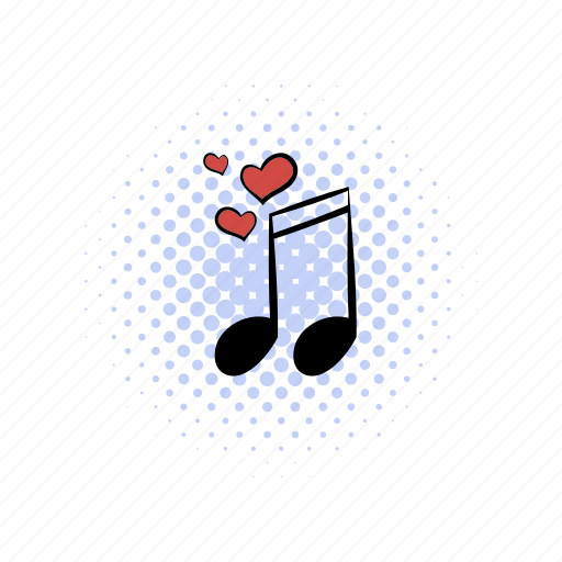 comics, heart, love, melody, music, note, wedding icon
