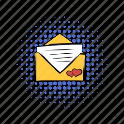 comics, email, heart, invitation, letter, love, wedding icon