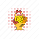 anemone, basket, bouquet, comics, decoration, flower, rose icon