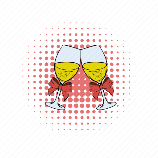 champagne, cocktail, comics, glass, sparkling, toast, wine icon
