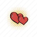 comics, couple, heart, love, passion, two, valentine icon