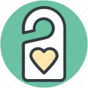 do not disturb, door tag, doorknob, heart sign, privacy icon