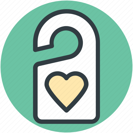 do not disturb, door tag, doorknob, heart sign, privacy icon