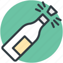 alcohol, celebration theme, party, popping cork, splashing champagne icon