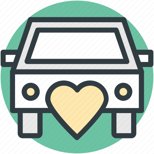 car, heart sign, love theme, married couple, traveling icon