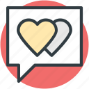 compassion, heart sign, love via internet, lover's chat, relationship theme, romantic conversation, speech bubble icon