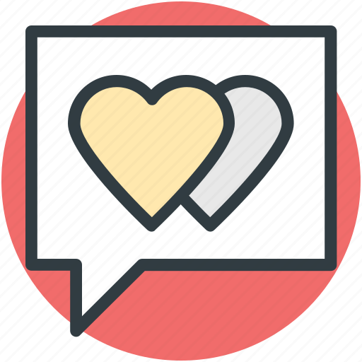 compassion, heart sign, love via internet, lover's chat, relationship theme, romantic conversation, speech bubble icon