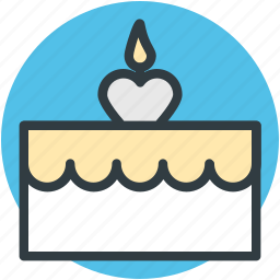 cake, candle, dessert, party cake, sweet icon