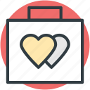 luggage, suitcase, tour, travel, two hearts icon