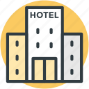 hotel, hotel building, inn, public house, travel icon
