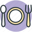 cutlery, dinnerware, fork, plate, spoon icon