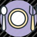 cutlery, dinnerware, fork, plate, spoon