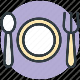 cutlery, dinnerware, fork, plate, spoon icon