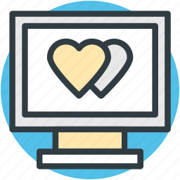 hearts sign, love, love message, love via internet, media, monitor, valentines day icon