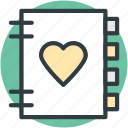 diary, heart sign, love, love inspirations, memo, memories, romantic feelings icon