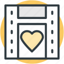 camera, camera reel, film reel, heart sign, image reel, movie reel icon