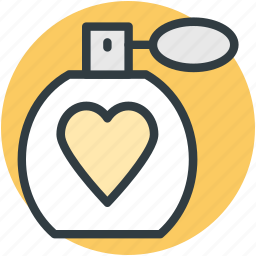 adornment, fragrance, heart sign, perfume, perfume bottle, scent, spray icon