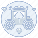 carriage, horse-drawn carriage, just married, marriage, reception, wedding icon