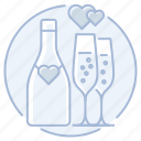 bottle, champagne, flutes, heart, love, marriage, toast, wedding icon