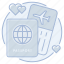 airline, honeymoon, passport, ticket, travel, trip, vacation
