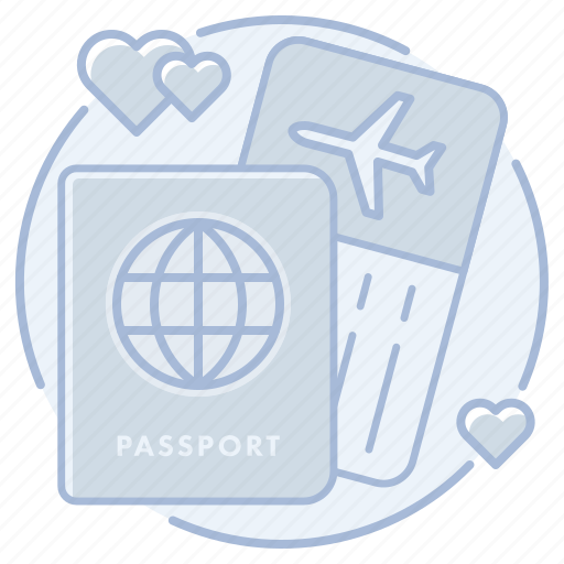 airline, honeymoon, passport, ticket, travel, trip, vacation icon