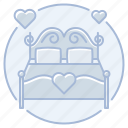 bed, heart, honeymoon, love, marriage, wedding, wedding night icon